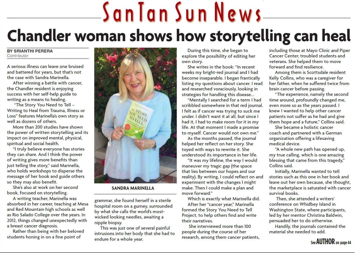 Chandler AZ San Tan Sun News Interviews Sandra Marinella